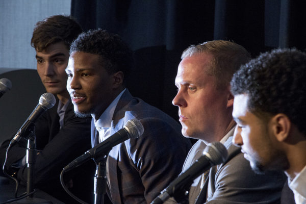 Denver Nuggets draft pick Malik Beasley speaks at a press conference next to general manager Tim Connelly on June 29, 2016. (Kevin J. Beaty/Denverite)  denver nuggets; colorado; sports; basketball; draft; press conference; kevinjbeaty; denverite;