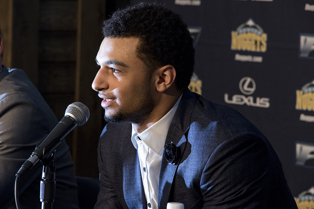 Nuggets NBA draft pick Jamal Murray speaks at a press conference on June 29, 2016. (Kevin J. Beaty/Denverite)  jamal murray; denver nuggets; colorado; sports; basketball; draft; press conference; kevinjbeaty; denverite;