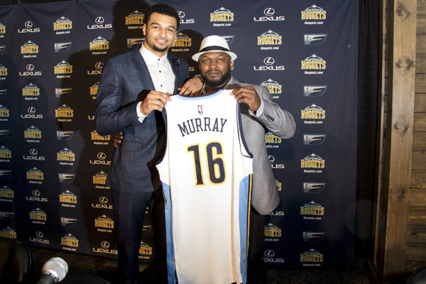 Nuggets NBA draft pick Jamal Murray and his father, Roger, at a press conference on June 29, 2016. (Kevin J. Beaty/Denverite)  Jamal Murray; denver nuggets; colorado; sports; basketball; draft; press conference; kevinjbeaty; denverite;