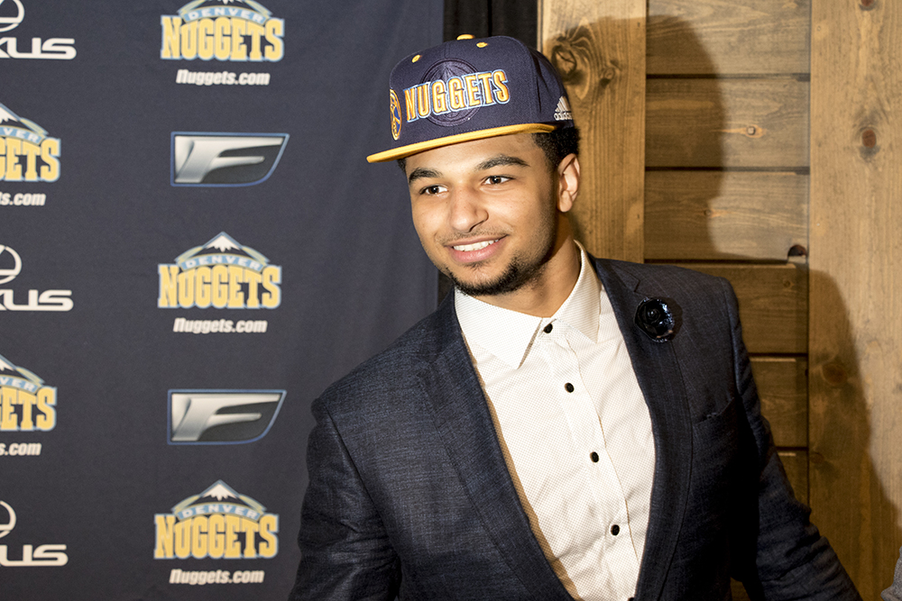 Nuggets NBA draft pick Jamal Murray at a press conference on June 29, 2016. (Kevin J. Beaty/Denverite)  Jamal Murray; denver nuggets; colorado; sports; basketball; draft; press conference; kevinjbeaty; denverite;