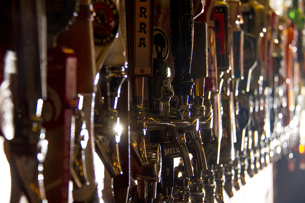 The numerous tap handles at LoDo's Falling Rock Tap House. (Kevin J. Beaty/Denverite)