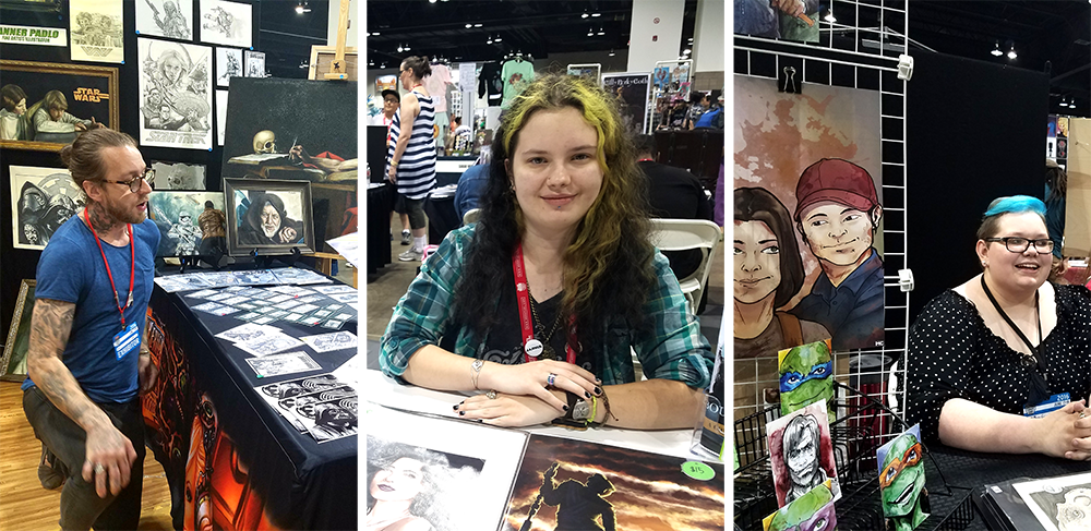 From left, Tanner Padlo, Katy L. Wood and Mary Carman. (Megan Arellano/Denverite) Denver Comic Con 2016, Katy L. Wood, Tanner Padlo, Mary Carmen, Artist Valley