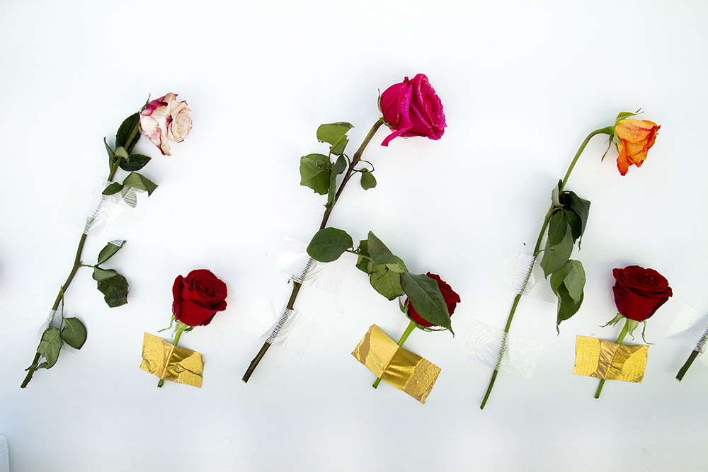 Fresh flowers taped to the side of a parade float. (Kevin J. Beaty/Denverite)  guru; indian; sikh; faith; holiday; religion; parade; denver; denverite; colorado; kevinjbeaty
