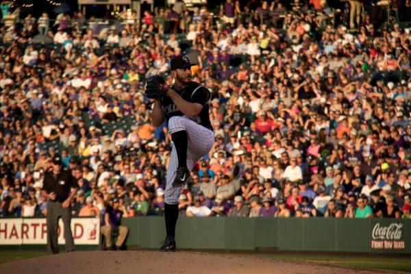 Bettis pitching during Phillies game. (Chloe Aiello/Denverite)