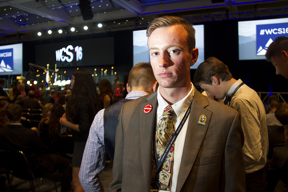 Caleb Reagor awaits the start of the Western Conservative Conference 2016. (Kevin J. Beaty/Denverite)  western conservative conference 2016; colorado convention center; donald trump; election; politics; vote; denver; denverite; kevinjbeaty; colorado