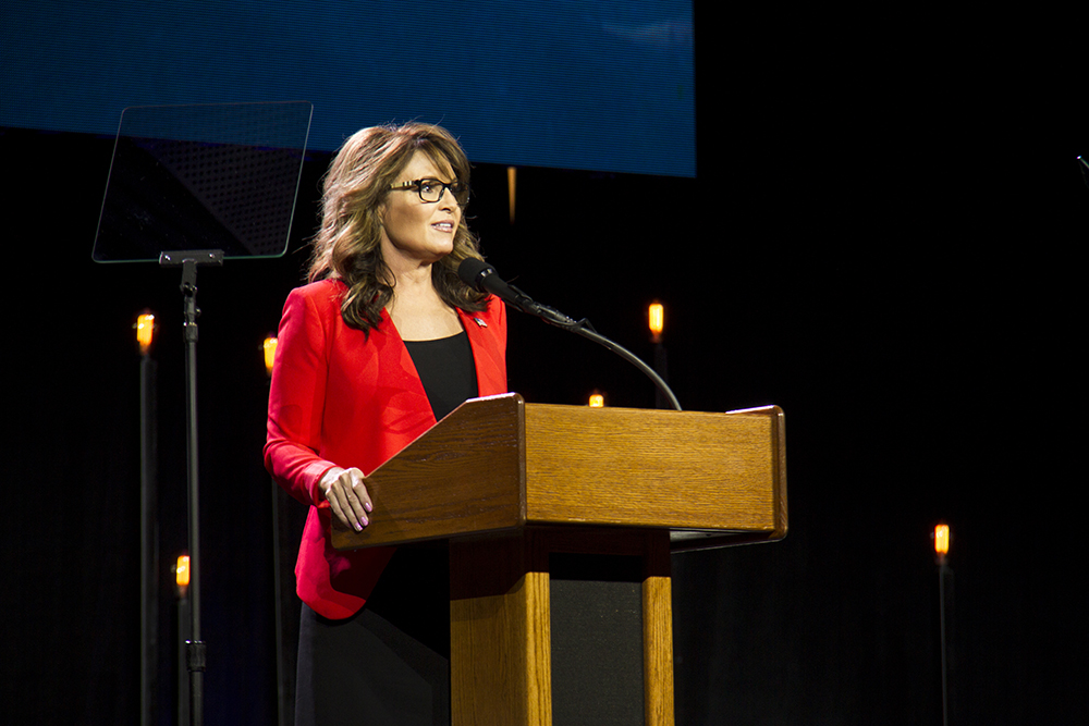 Sarah Palin speaks at the Western Conservative Summit. (Kevin J. Beaty/Denverite)