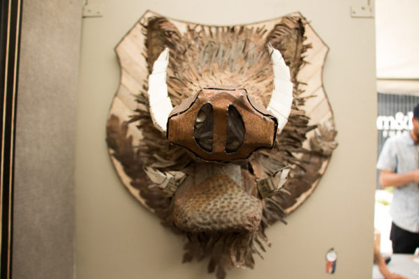 Dolan Geiman created this multi-media boar bust. (Chloe Aiello/Denverite)