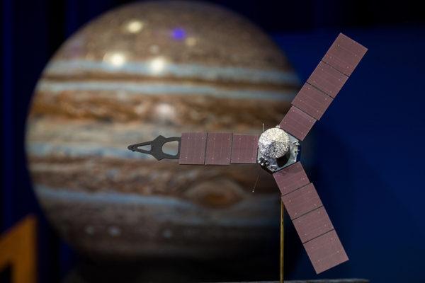 A model of the Juno spacecraft. (NASA/Aubrey Gemignani/Flickr)  nasa; space; juno; jupiter;