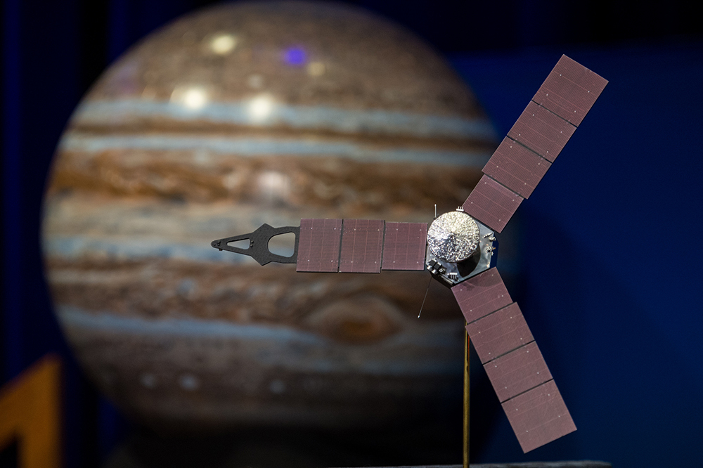 A model of the Juno spacecraft. (NASA/Aubrey Gemignani/Flickr)  nasa; space; juno; jupiter;