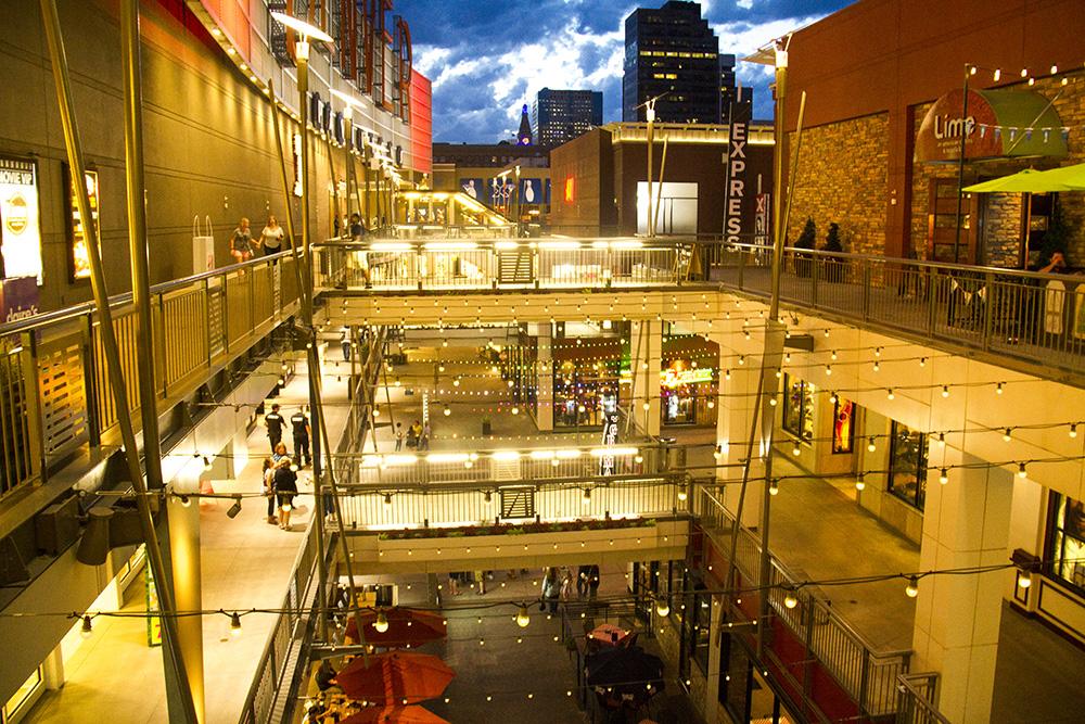 Denver Pavilions at magic hour. (Kevin J. Beaty/Denverite)  denver pavilions; 16th street mall; sixteenth street mall; evening; sunset; entertainment; nightlife; denver; kevinjbeaty; denverite; colorado;