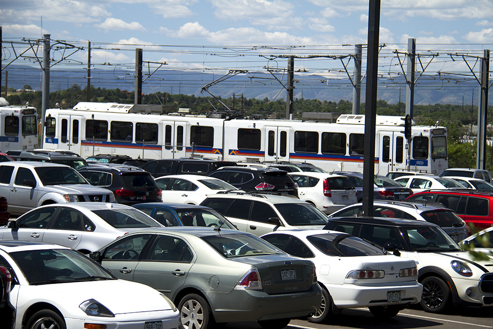 RTD's I-25 and Broadway station park-and-ride. (Kevin J. Beaty/Denverite)