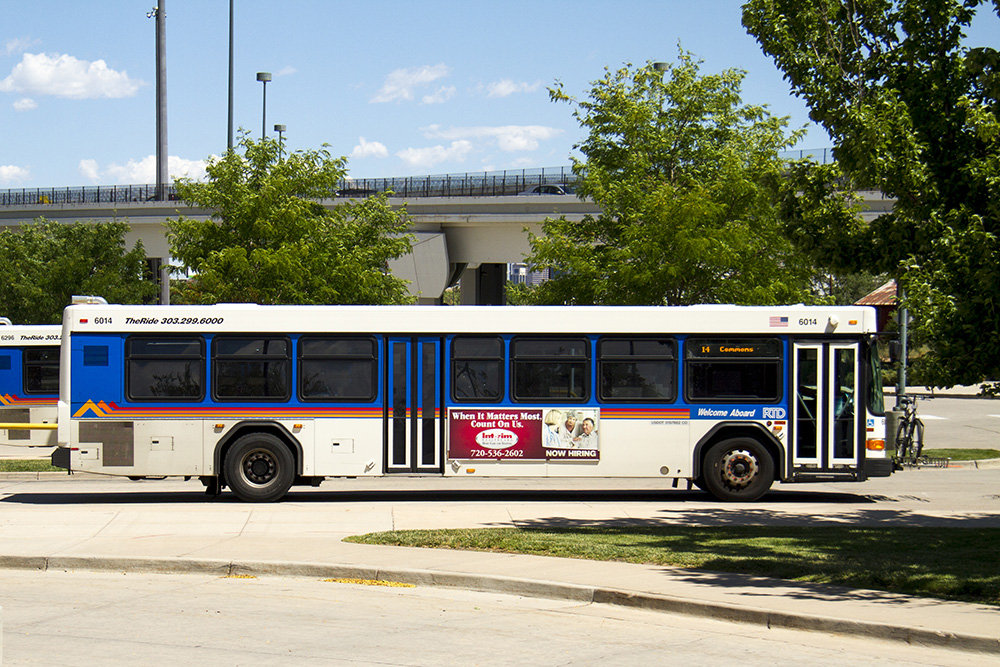 An RTD bus at the Broadway and I-25 park-and-ride. (Kevin J. Beaty/Denverite)  RTD; bus; transit; denver; colorado; denverite; kevinjbeaty