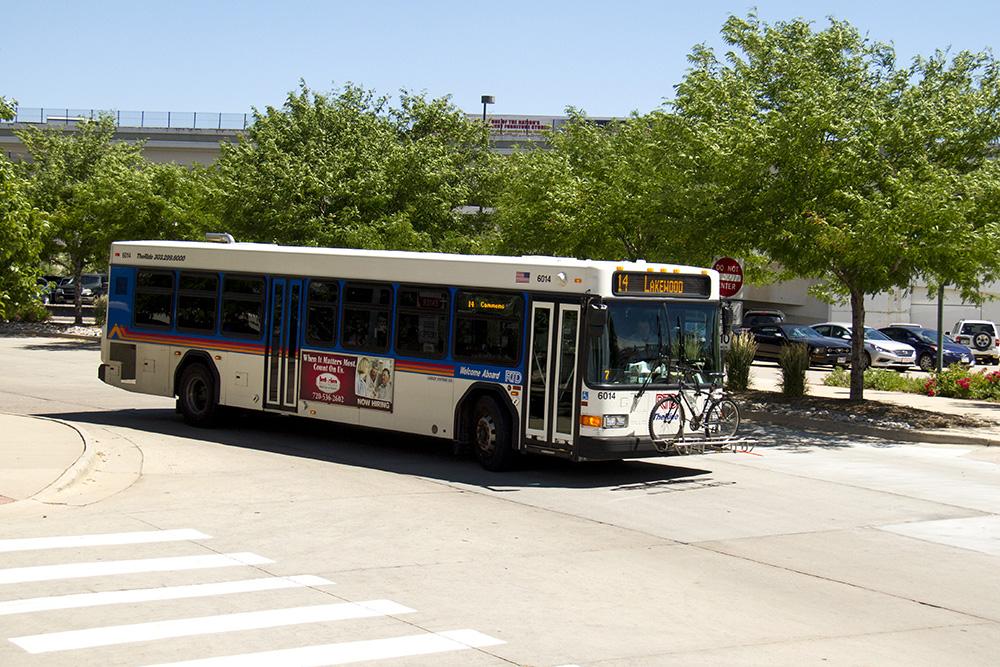 An RTD bus at the Broadway and I-25 park-and-ride. (Kevin J. Beaty/Denverite)  RTD; bus; transit; denver; colorado; denverite; kevinjbeaty