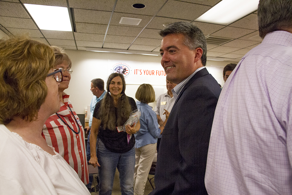 US Senator Cory Gardner at a meeting calling for unity among the Republican Party at the Jefferson County Republican Party headquarters on July 9, 2016. (Kevin J. Beaty/Denverite)   corygardner;