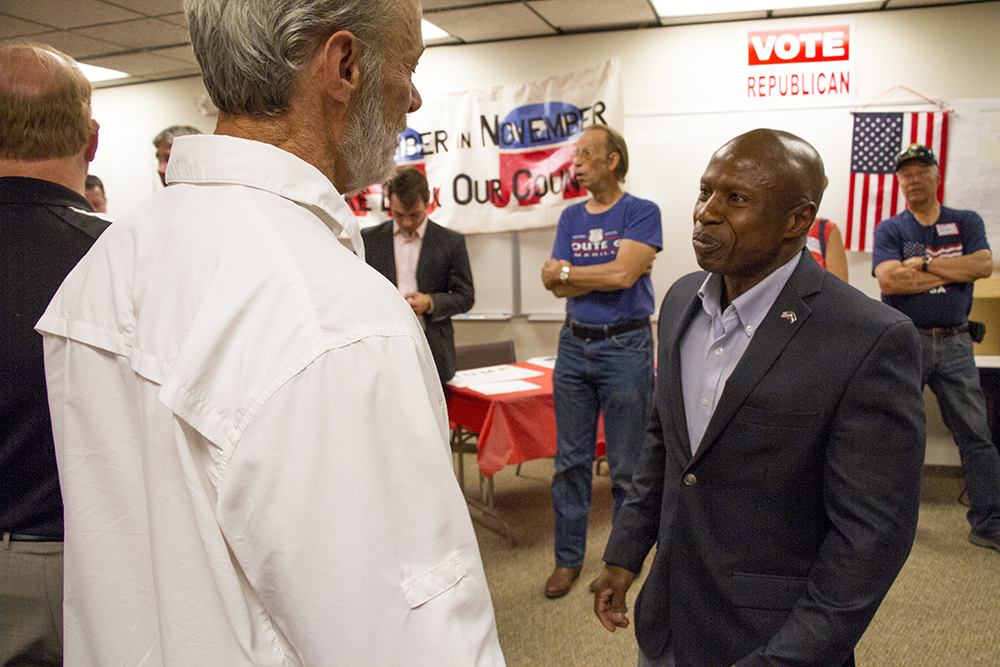 US Senate candidate Darryl Glenn at a meeting calling for unity among the Republican Party at the Jefferson County Republican Party headquarters on July 9, 2016. (Kevin J. Beaty/Denverite)  jefferson county republicans; politics; election; vote; denver; denverite; kevinjbeaty; colorado;