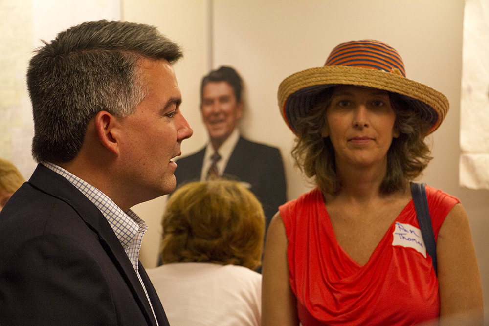 US Senator Cory Gardner at a meeting calling for unity among the Republican Party at the Jefferson County Republican Party headquarters on July 9, 2016. (Kevin J. Beaty/Denverite)  US Senator Cory Gardner; jefferson county republicans; politics; election; vote; denver; denverite; kevinjbeaty; colorado; corygardner;