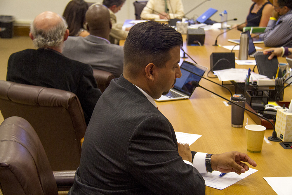 Denver City Council councilman Paul D. López listens in during a committee meeting on July 13, 2016. (Kevin J. Beaty/Denverite)  city council; politics; government; linkage fees; development; city and county building; kevinjbeaty; denver; colorado; denverite; taxes;
