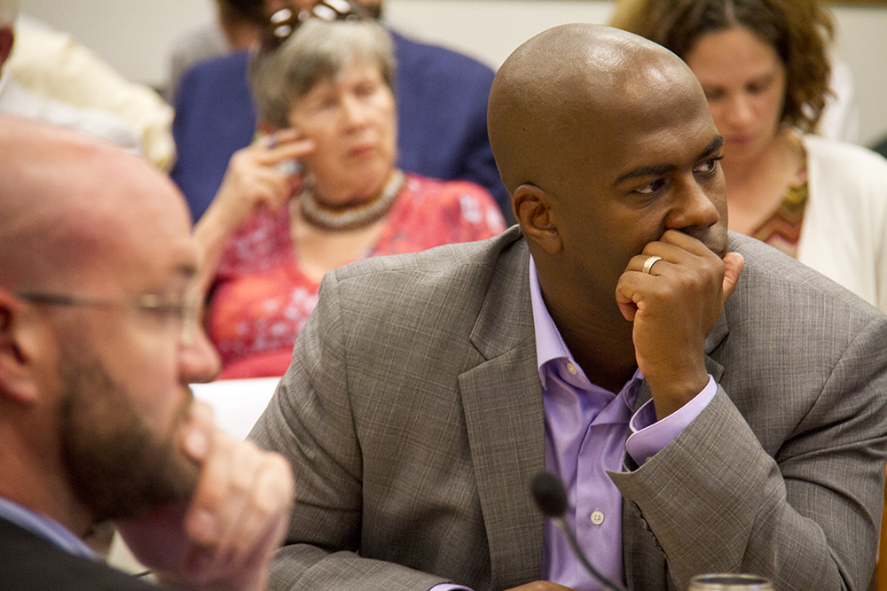 Denver City Council president and councilman Christopher Herndon listens in during a committee meeting on July 13, 2016. (Kevin J. Beaty/Denverite)