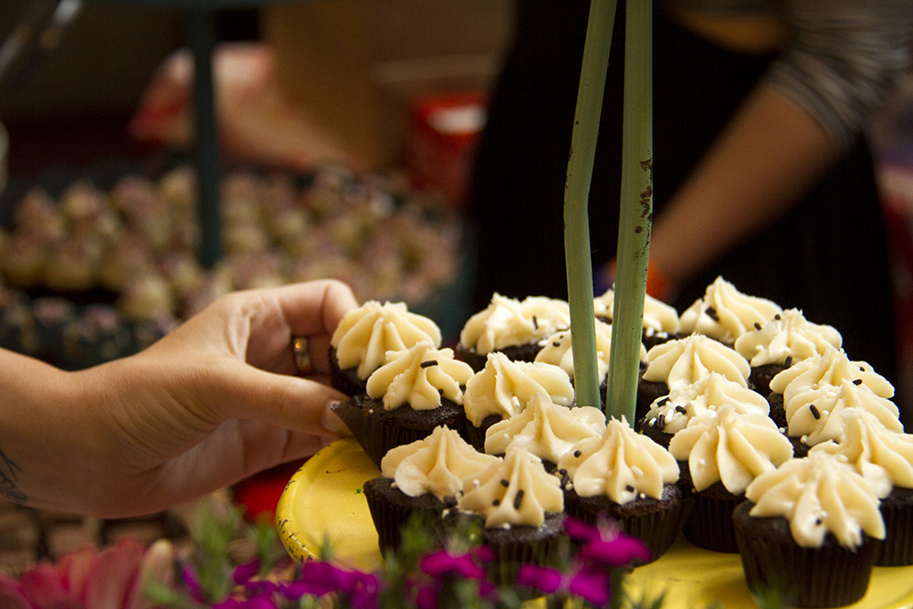 """Happy Together,"" chocolate and vanilla cupcakes served up by the Happy Bakeshop at the Big Eat. Denver Center For The Performing Arts, July 14, 2016. (Kevin J. Beaty/Denverite)  food; big eat; Denver Center For The Performing Arts; denver; kevinjbeaty; colorado; denverite;"
