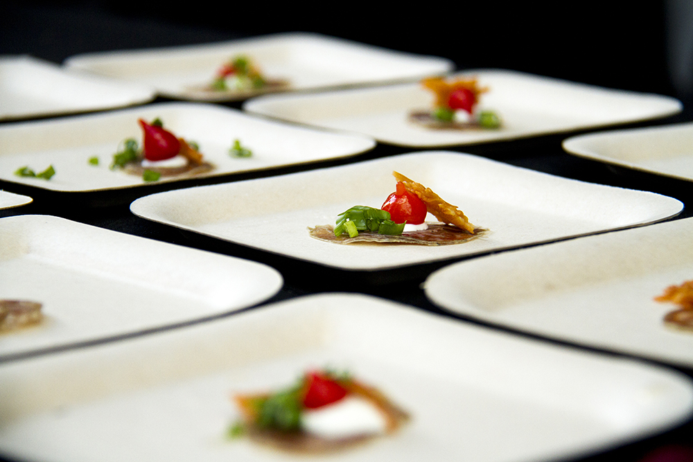 Tiny samplings of house-cured salami prepared and arranged by Vesta Dipping Grill for the Big Eat at the Denver Center For The Performing Arts, July 14, 2016. (Kevin J. Beaty/Denverite)  food; big eat; Denver Center For The Performing Arts; denver; kevinjbeaty; colorado; denverite;