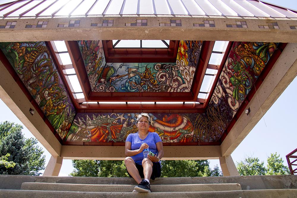 Diane Medina poses for a portrait under the La Raza Park kiosko. (Kevin J. Beaty/Denverite)  la raza park; columbus park; sunnyside; chicano; denver; kevinjbeaty; denverite; colorado;