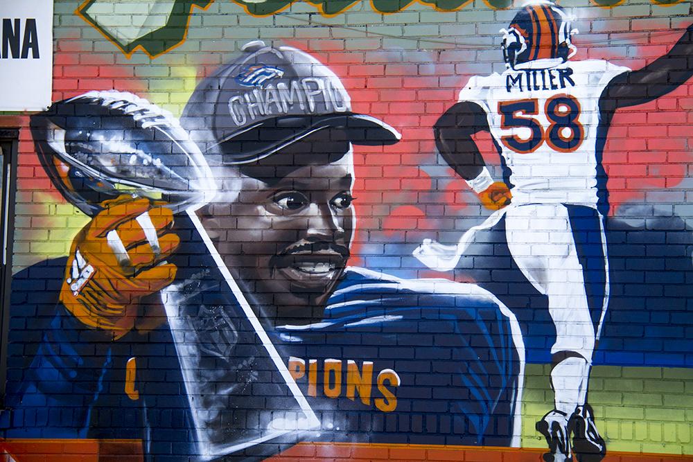 A mural depicting Von Miller adorns the Advanced Medical Alternatives building on 13th and Elati. (Kevin J. Beaty/Denverite)  denver; colorado; kevinjbeaty; denverite; von miller; public art; mural; sports; broncos; football;