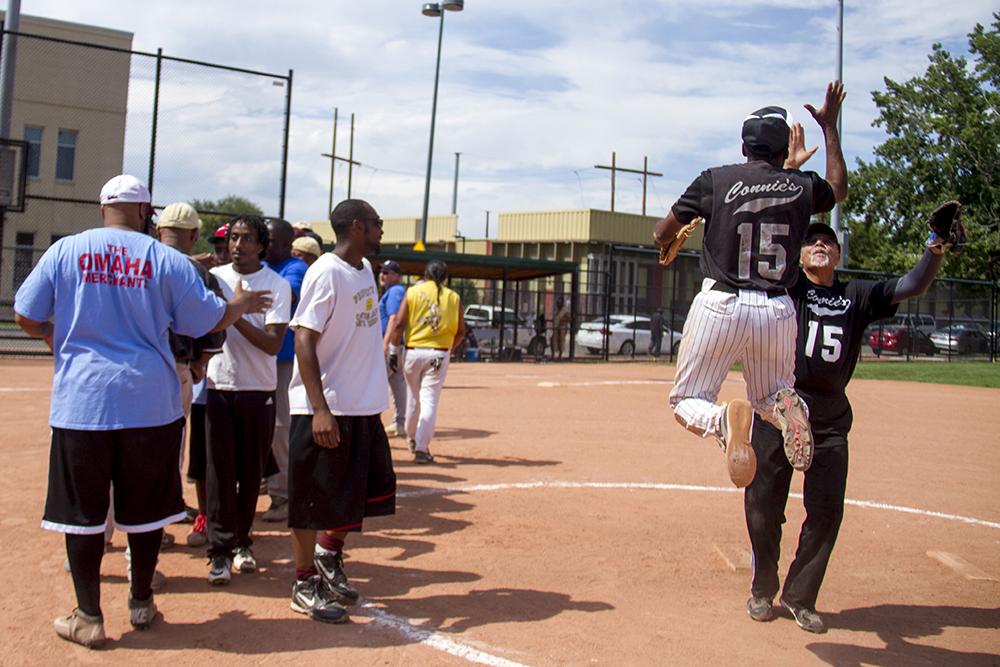 Denver Randall's celebrare a win, 6-3 after 12 innings. (Kevin J. Beaty/Denverite)  baseball; sports; five points; denver randalls; kevinjbeaty; denver; denverite; kevinjbeaty; colorado;