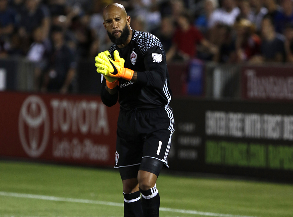 Tim Howard. Colorado Rapids during game against FC Dallas at Dick's Sporting Goods Park, July 23, 2016. Rapids took the lead in the first half, and lost the lead when DC Dallas scored in the second half and the game ended in a tie 1-1. (Jessica Taves/For Denverite)  jessica taves; denverite; colorado rapids; fc dallas; sports; soccer; colorado; denver;