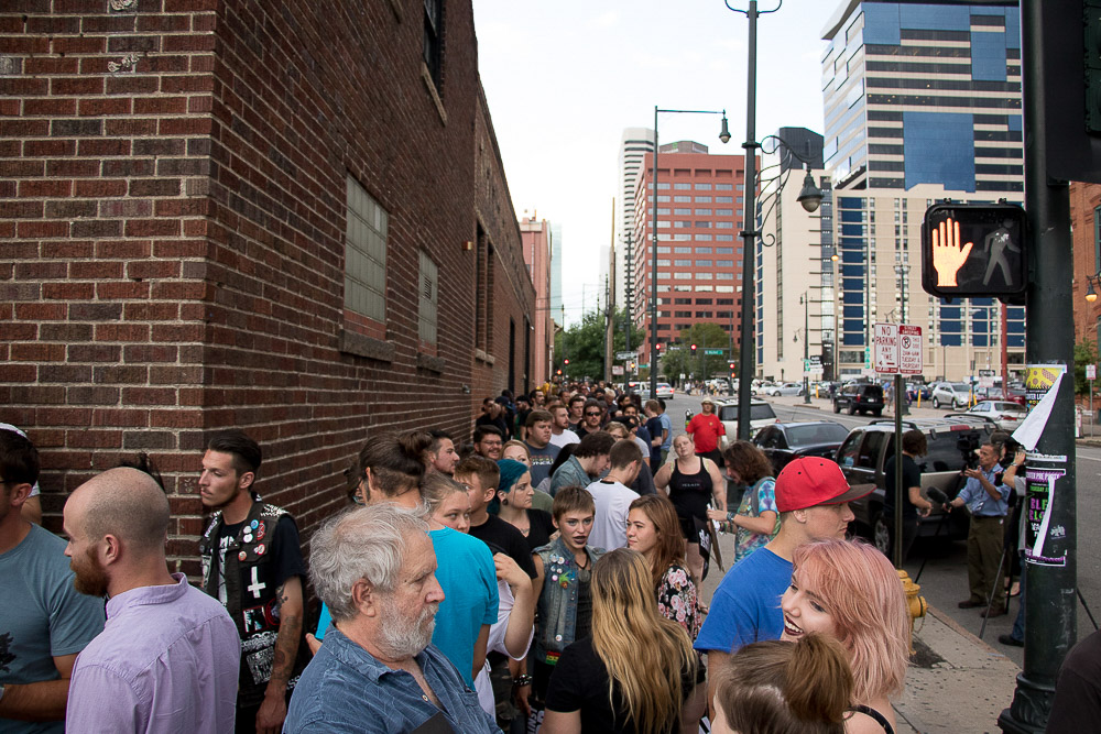 A large crowd gathered at Rock Against the TPP (Chloe Aiello/Denverite)
