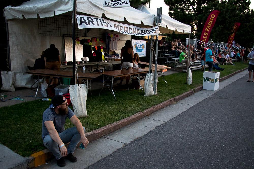 Main stage merch tent at UMS (Chloe Aiello/Denverite)