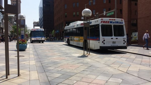 Free MallRide buses run along the 16th Street Mall in Denver Thursday, July 28,  2016. (Adrian D. Garcia/Denverite)