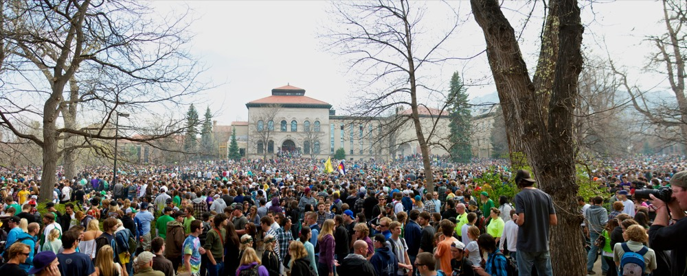 A 2010 pro-marijuana celebration at University of Colorado Boulder.  (Zach Dischner/Flickr)