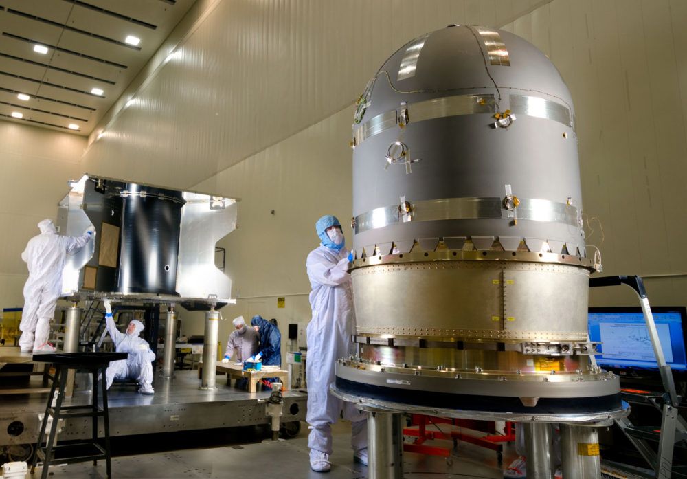 Engineers prepare to install the Mars Atmosphere And Volatile EvolutioN (MAVEN) propellent tank at Lockheed Martin in Denver. (Courtesy of Lockheed Martin/Flickr)
