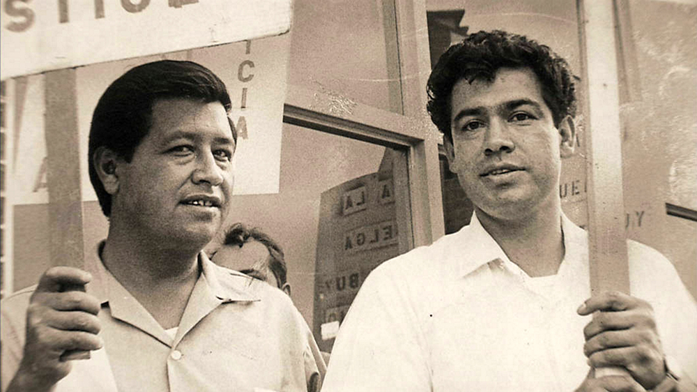 """Former boxer Rodolfo (Corky) Gonzales, right, with Cesar Chavez, formed the Crusade for Justice in 1966."" (KRMA/Denver Post/Denver Public Library/Western History Collection/X-RMN-049-9397)  corky gonzales; cesar chavez; crusade for justice; protest; historic; archival; archive; denver public library; dpl; denverite; denver post;"