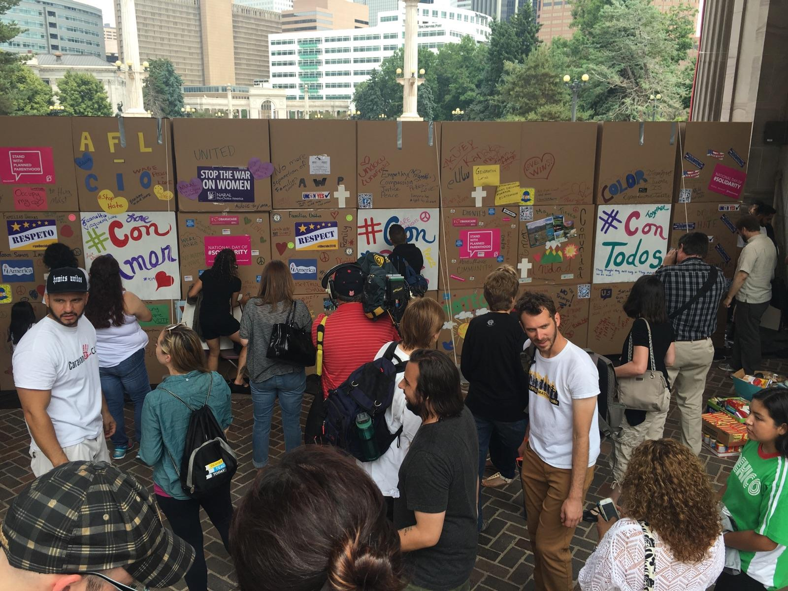The back of ProgressNow Colorado's wall on Friday afternoon. (Courtesy of Pilar)