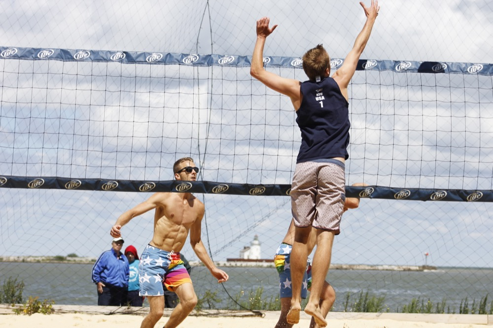 Beach volleyball during the 2014 Gay Games in Cleveland. (Courtesy of the Federation of Gay Games.)