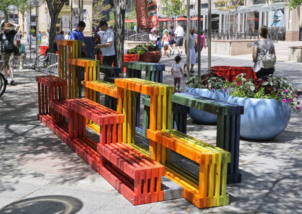 Rainbow Street Seating by  Nick Fish, Yong Huang, Tony Yue, AtelierHAY and WorthGroup (Larry Laszlo/CoMedia)