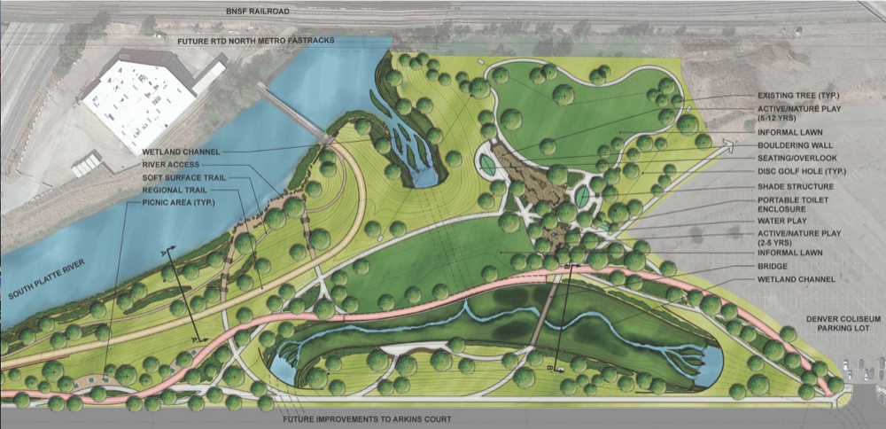 "The ""preferred concept"" for Globeville Landing. Courtesy City of Denver."