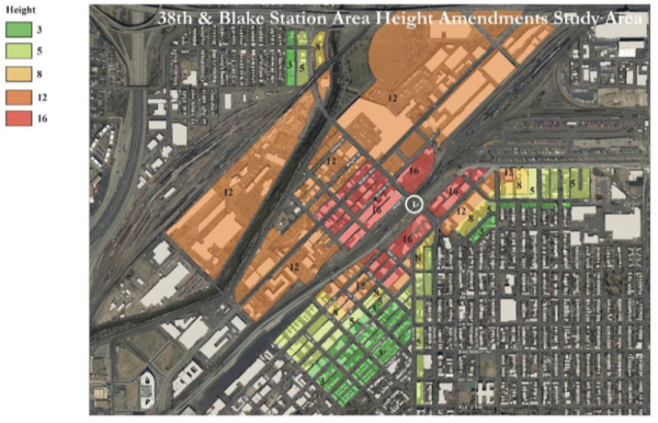 Proposed building heights around the 38th and Blake station. (City of Denver)