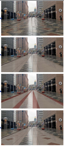 Design options the Regional Transportation District is considering for the pavers along the 16th Street Mall. (Courtesy of RTD)