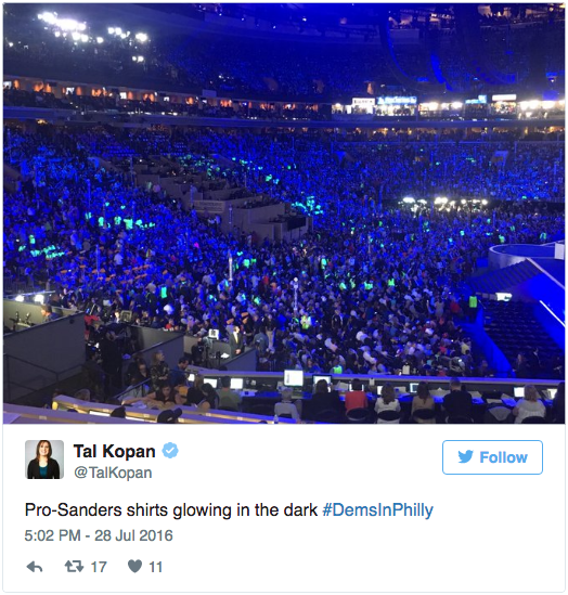 Tweet showing glowing Bernie Sanders.