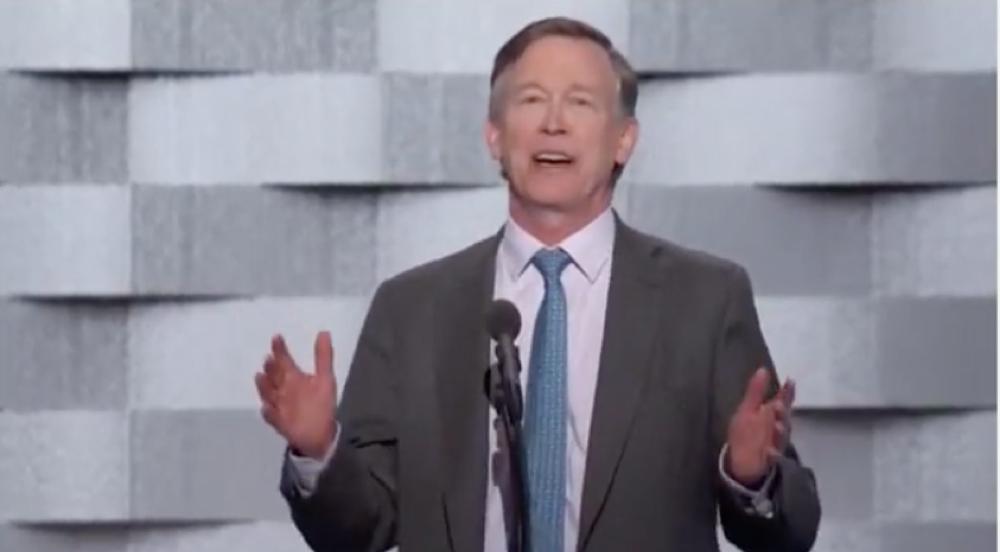 Gov. John Hickenlooper addresses the Democratic National Convention July 28, 2016.