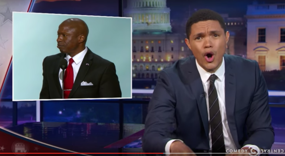 A screenshot of Trevor Noah mocking Darryl Glenn on The Daily Show. (Comedy Central/YouTube)
