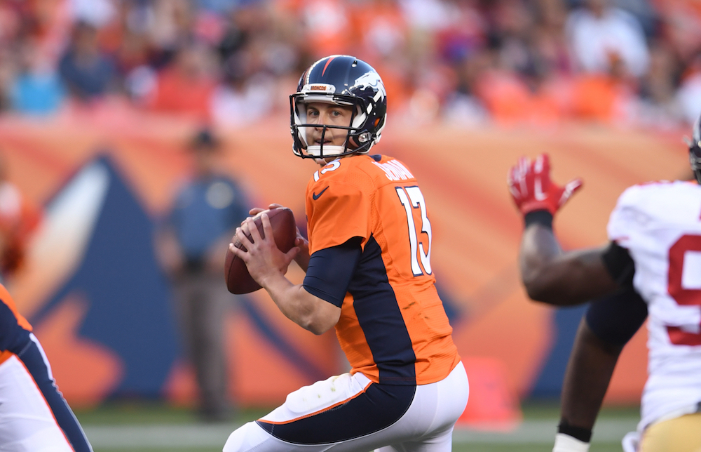 Trevor Siemian, who has all of one NFL snap under his belt, is in the driver's seat for the Broncos' starting QB job. (Photo courtesy of Denver Broncos)