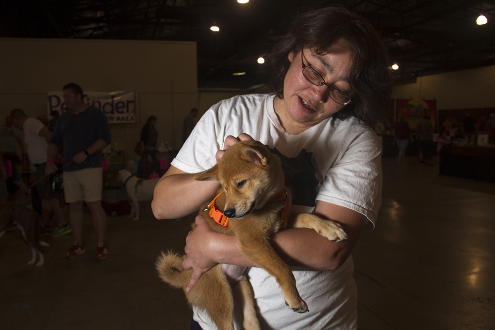 Chris Radziminski of the Save Me Scout Rescue holds a puppy at the Denver Pet Expo. Aug. 21, 2016. (Kevin J. Beaty/Denverite)  denver pet expo; animals; pets; dogs; kevinjbeaty; denver; denverite; colorado;