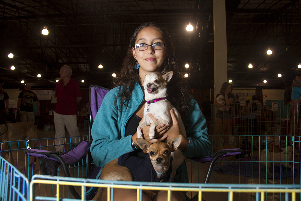Desarae Rowcliffe poses with  One Eye and Rocco at the Denver Pet Expo. Aug. 21, 2016. (Kevin J. Beaty/Denverite)  denver pet expo; animals; pets; dogs; kevinjbeaty; denver; denverite; colorado;