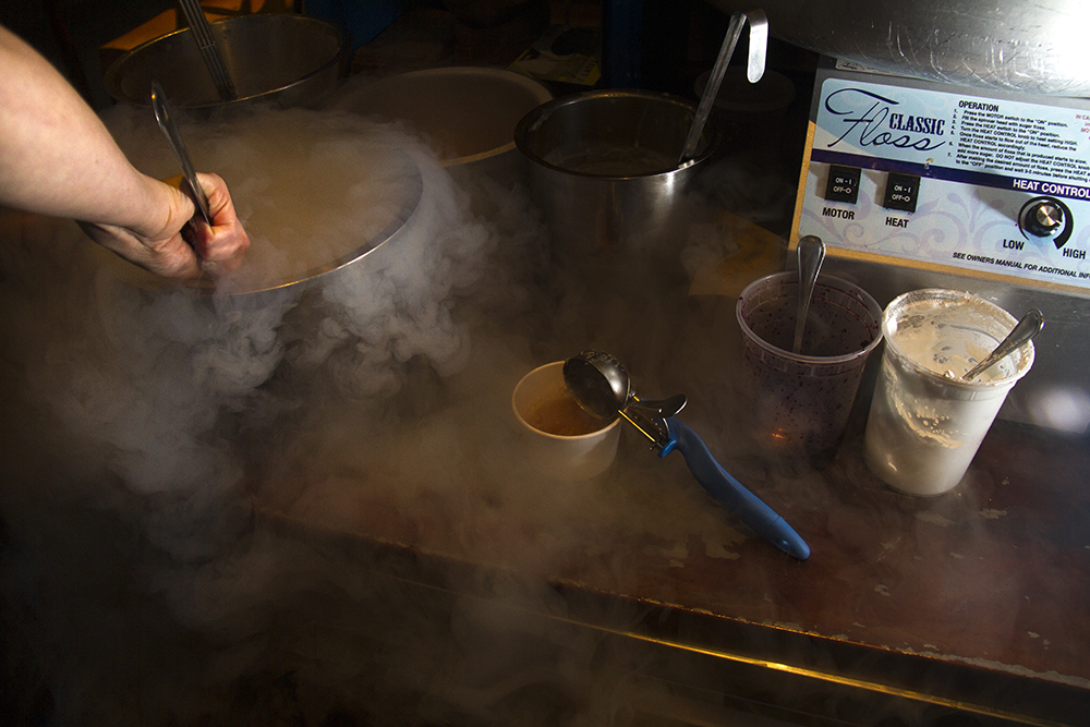 The making of a liquid nitrogen creation at the Inventing Room in LoDo. (Kevin J. Beaty/Denverite)  ice cream; food; denver; colorado; kevinjbeaty; denverite