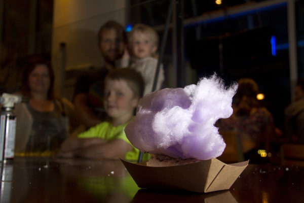 Peanut butter mousse with grape jelly cotton candy, handcrafted with liquid nitrogen at the Inventing Room in LoDo. (Kevin J. Beaty/Denverite)  ice cream; food; denver; colorado; kevinjbeaty; denverite