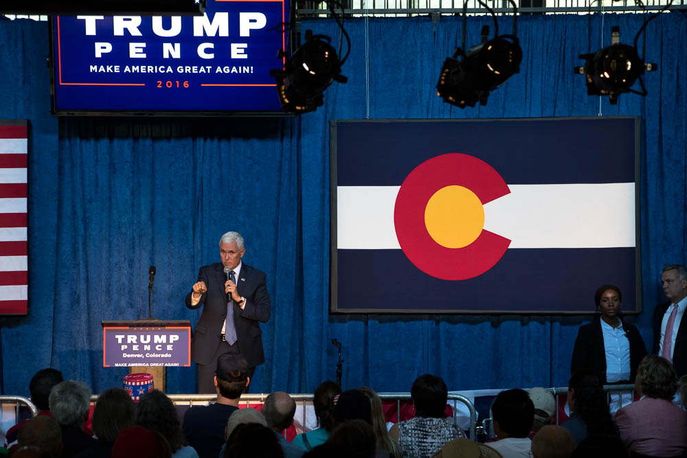 Mike Pence addresses crowd at Town Hall at Mile High Station. (Chloe Aiello/Denverite)