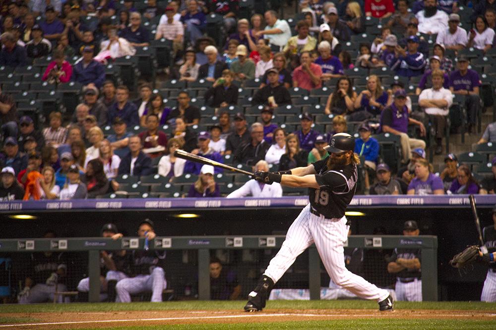 Charlie Blackmon. Colorado Rockies vs L.A. Dodgers. August 4, 2016. (Kevin J. Beaty/Denverite)  colorado rockies; los angeles dodgers; baseball; sports; kevinjbeaty; coors field; denver; denverite; colorado;